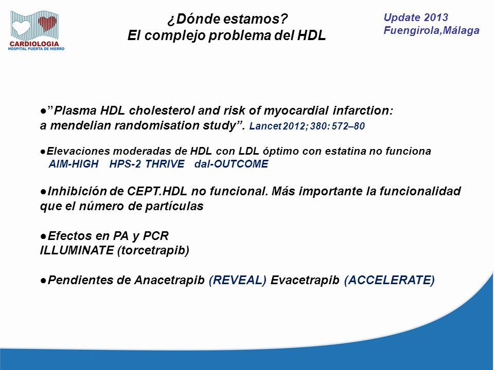 Update 2013 Fuengirola,Málaga ¿Dónde estamos? El complejo problema del HDL Plasma HDL cholesterol and risk of myocardial infarction: a mendelian rando