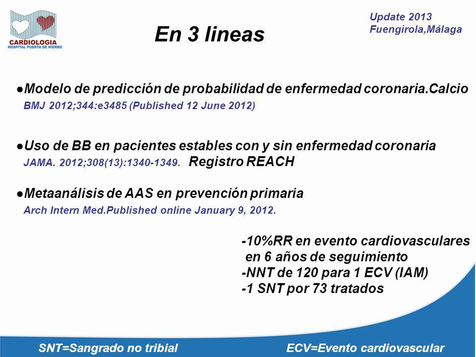 Update 2013 Fuengirola,Málaga Modelo de predicción de probabilidad de enfermedad coronaria.Calcio BMJ 2012;344:e3485 (Published 12 June 2012) Uso de B