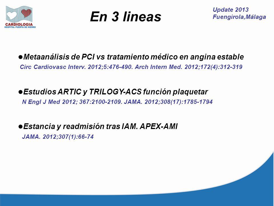 Update 2013 Fuengirola,Málaga En 3 lineas Metaanálisis de PCI vs tratamiento médico en angina estable Circ Cardiovasc Interv. 2012;5:476-490. Arch Int