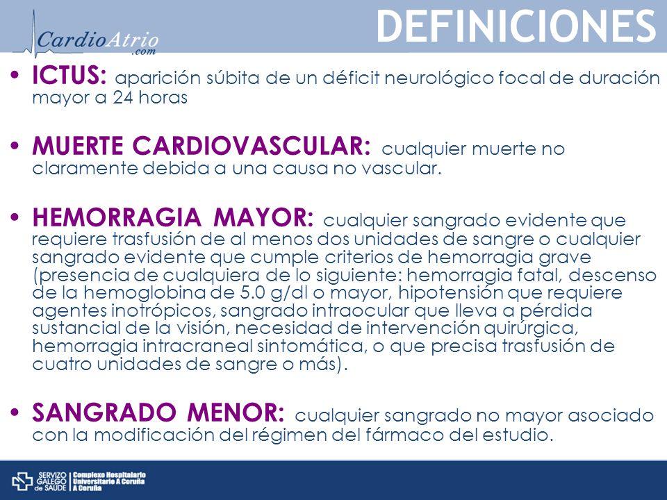 ICTUS: aparición súbita de un déficit neurológico focal de duración mayor a 24 horas MUERTE CARDIOVASCULAR: cualquier muerte no claramente debida a una causa no vascular.