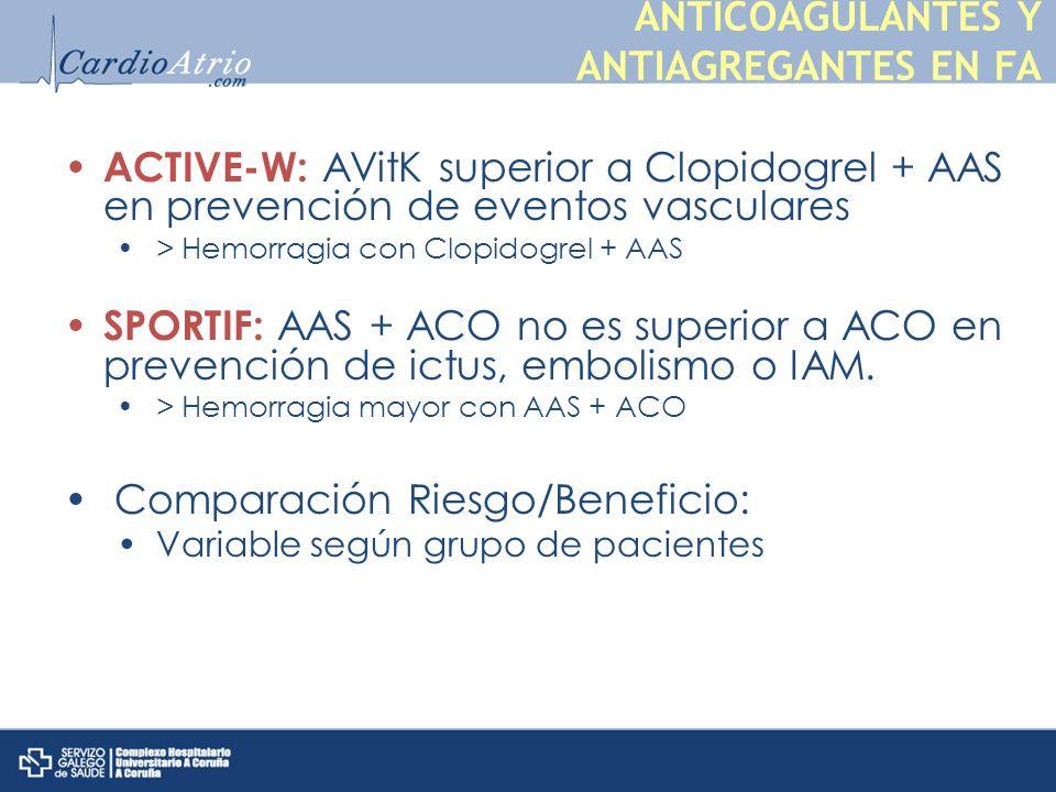 ACTIVE-W: AVitK superior a Clopidogrel + AAS en prevención de eventos vasculares > Hemorragia con Clopidogrel + AAS SPORTIF: AAS + ACO no es superior a ACO en prevención de ictus, embolismo o IAM.