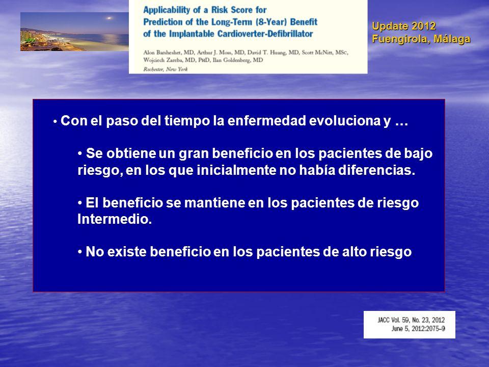 Update 2012 Fuengirola, Málaga Con el paso del tiempo la enfermedad evoluciona y … Se obtiene un gran beneficio en los pacientes de bajo riesgo, en lo