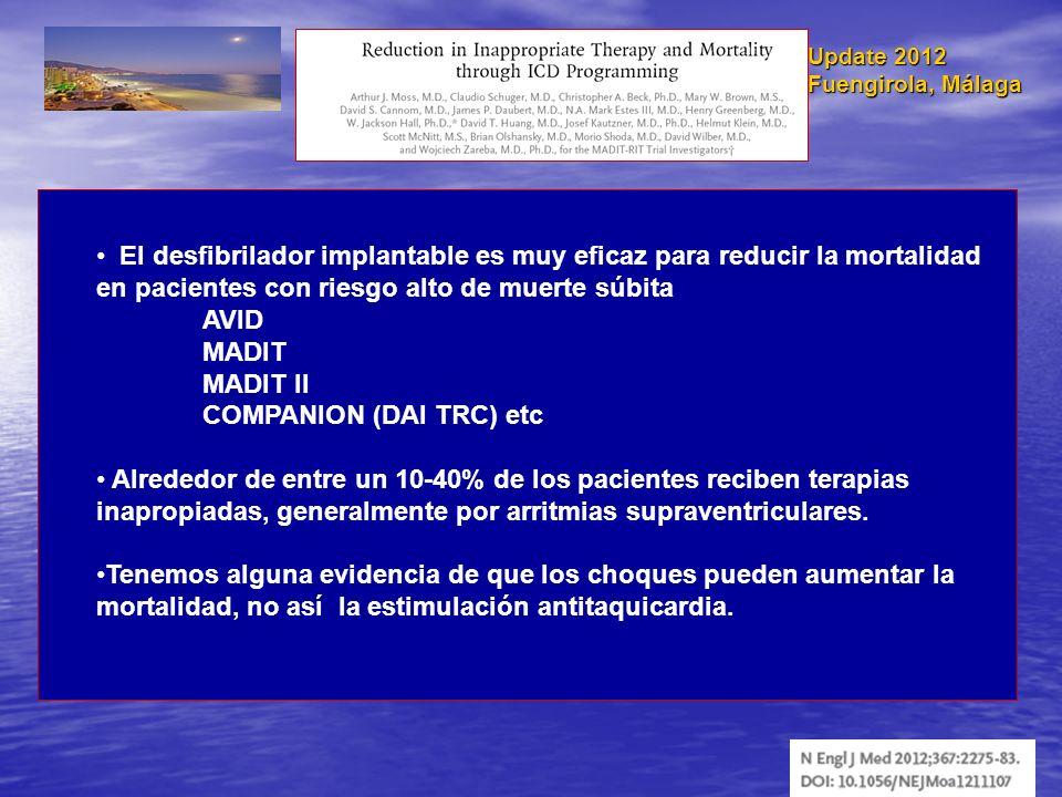 Update 2012 Fuengirola, Málaga El desfibrilador implantable es muy eficaz para reducir la mortalidad en pacientes con riesgo alto de muerte súbita AVI