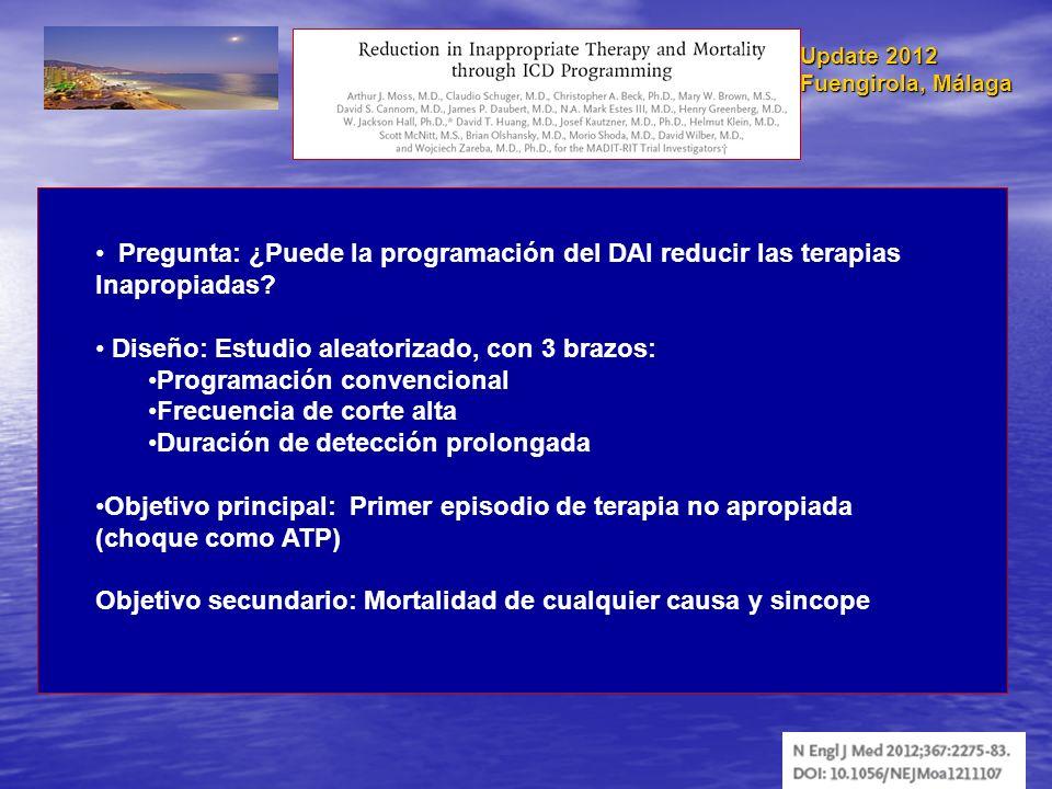 Update 2012 Fuengirola, Málaga Pregunta: ¿Puede la programación del DAI reducir las terapias Inapropiadas? Diseño: Estudio aleatorizado, con 3 brazos: