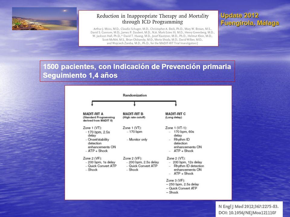 Update 2012 Fuengirola, Málaga 1500 pacientes, con Indicación de Prevención primaria Seguimiento 1,4 años