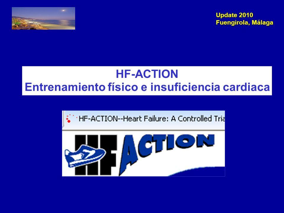 Update 2010 Fuengirola, Málaga Objetivo: Estudiar la seguridad y eficacia del entrenamiento físico en IC IC NYHA II-IV FE VI < 35% 36 sesiones supervisadas (ej.