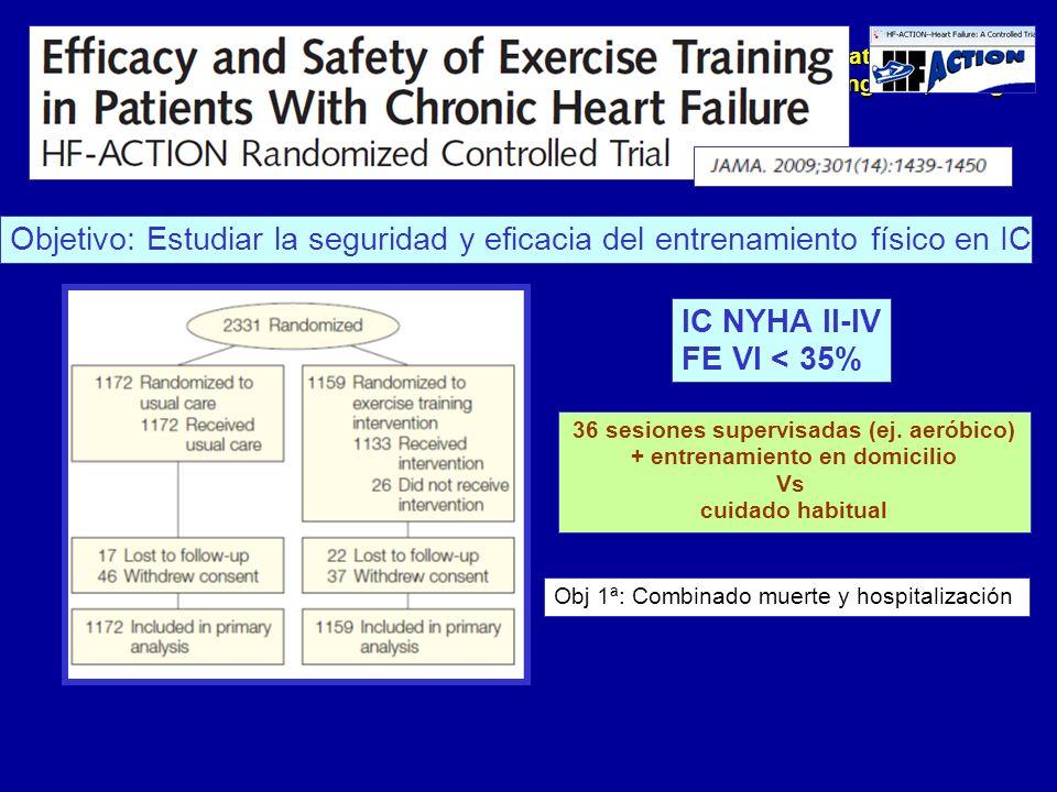 Update 2010 Fuengirola, Málaga Baja adherencia al ejercicio físico (….) 95 min/semana meses 4-6 74 min/semana meses 10-12 No diferencias en mortalidad ni hospitalización