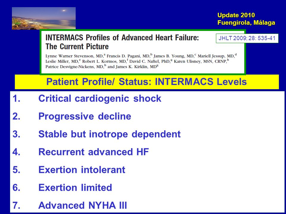 Update 2010 Fuengirola, Málaga Patient Profile/ Status: INTERMACS Levels 1. Critical cardiogenic shock 2. Progressive decline 3. Stable but inotrope d