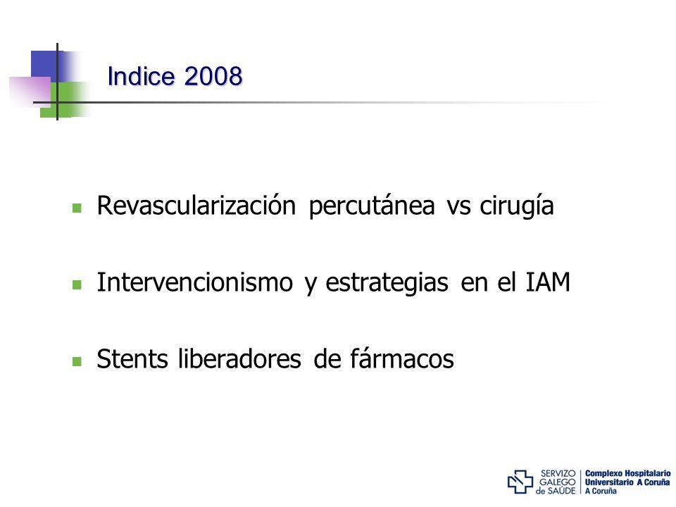 Indice 2008 Revascularización percutánea vs cirugía Intervencionismo y estrategias en el IAM Stents liberadores de fármacos