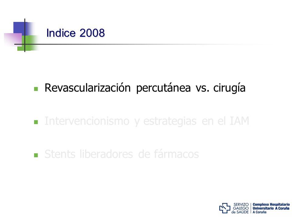 Intervencionismo frente a Cirugía: resultados a largo plazo del estudio SOS La comparación intervencionismo – cirugía… Diseño: Ensayo clínico Europeo-canadiense entre 1996-1999 Pacientes con enf.