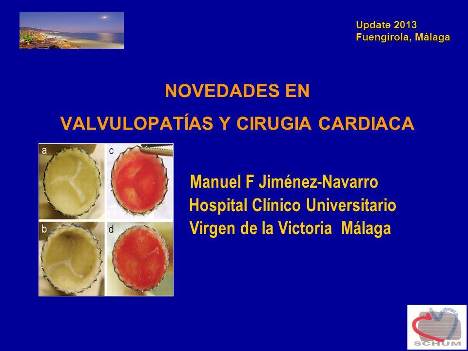 Update 2013 Fuengirola, Málaga NOVEDADES EN VALVULOPATÍAS Y CIRUGIA CARDIACA Manuel F Jiménez-Navarro Hospital Clínico Universitario Virgen de la Vict