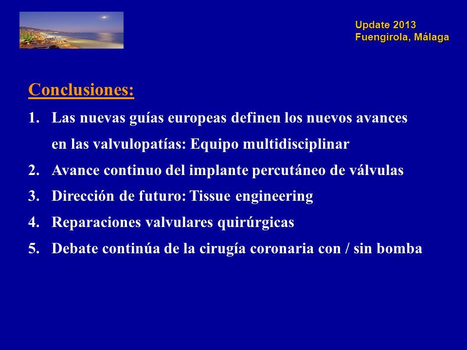 Update 2013 Fuengirola, Málaga Conclusiones: 1.Las nuevas guías europeas definen los nuevos avances en las valvulopatías: Equipo multidisciplinar 2.Avance continuo del implante percutáneo de válvulas 3.Dirección de futuro: Tissue engineering 4.Reparaciones valvulares quirúrgicas 5.Debate continúa de la cirugía coronaria con / sin bomba