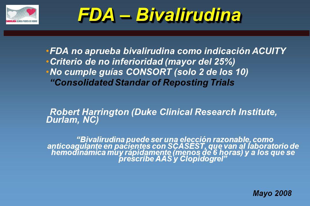 FDA – Bivalirudina FDA no aprueba bivalirudina como indicación ACUITY Criterio de no inferioridad (mayor del 25%) No cumple guías CONSORT (solo 2 de l
