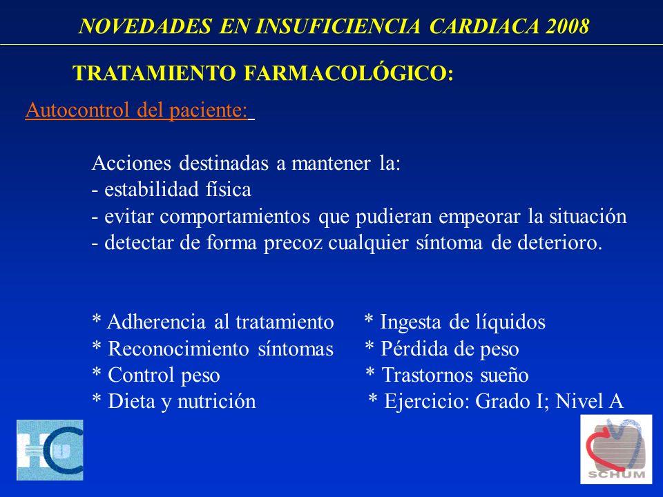 NOVEDADES EN INSUFICIENCIA CARDIACA 2008 Autocontrol del paciente: Acciones destinadas a mantener la: - estabilidad física - evitar comportamientos qu