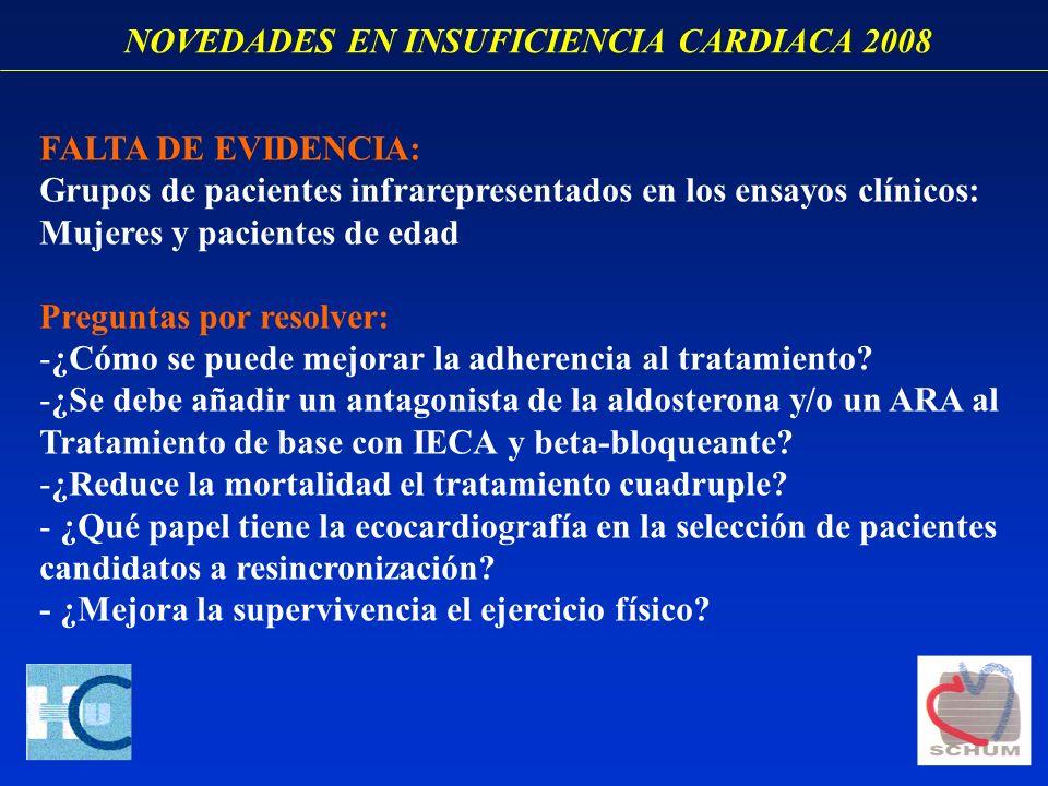 NOVEDADES EN INSUFICIENCIA CARDIACA 2008 FALTA DE EVIDENCIA: Grupos de pacientes infrarepresentados en los ensayos clínicos: Mujeres y pacientes de ed
