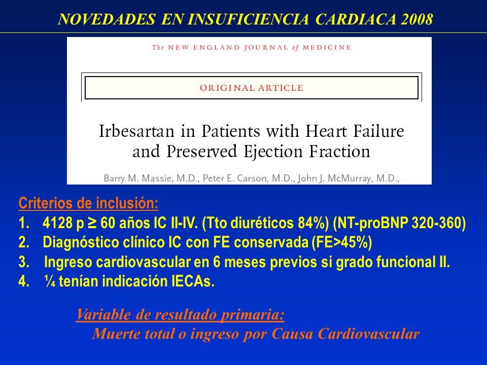 NOVEDADES EN INSUFICIENCIA CARDIACA 2008 Criterios de inclusión: 1.4128 p 60 años IC II-IV. (Tto diuréticos 84%) (NT-proBNP 320-360) 2.Diagnóstico clí