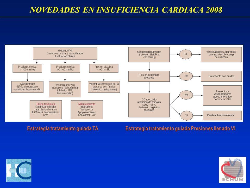 NOVEDADES EN INSUFICIENCIA CARDIACA 2008 Estrategia tratamiento guiada TAEstrategia tratamiento guiada Presiones llenado VI