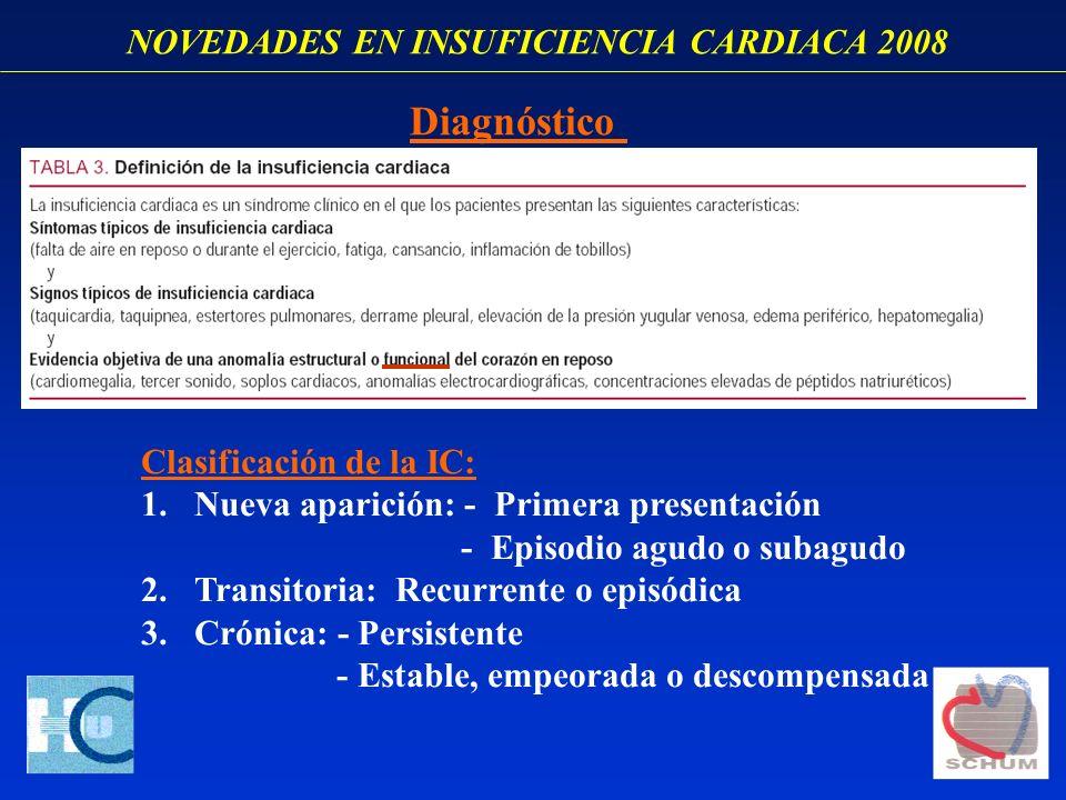 NOVEDADES EN INSUFICIENCIA CARDIACA 2008 Clasificación de la IC: 1.Nueva aparición: - Primera presentación - Episodio agudo o subagudo 2.Transitoria: