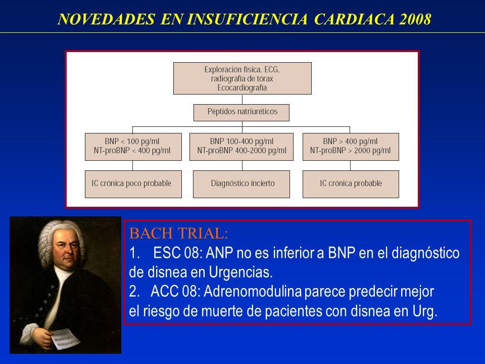 NOVEDADES EN INSUFICIENCIA CARDIACA 2008 BACH TRIAL: 1.ESC 08: ANP no es inferior a BNP en el diagnóstico de disnea en Urgencias. 2. ACC 08: Adrenomod