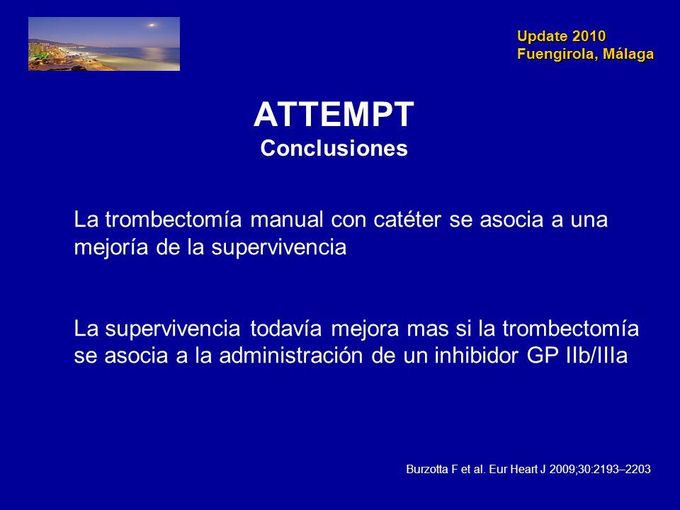 Update 2010 Fuengirola, Málaga Update 2010 Fuengirola, Málaga ATTEMPT Conclusiones La trombectomía manual con catéter se asocia a una mejoría de la su