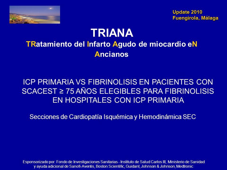 Update 2010 Fuengirola, Málaga Update 2010 Fuengirola, Málaga TRIANA TRatamiento del Infarto Agudo de miocardio eN Ancianos ICP PRIMARIA VS FIBRINOLIS