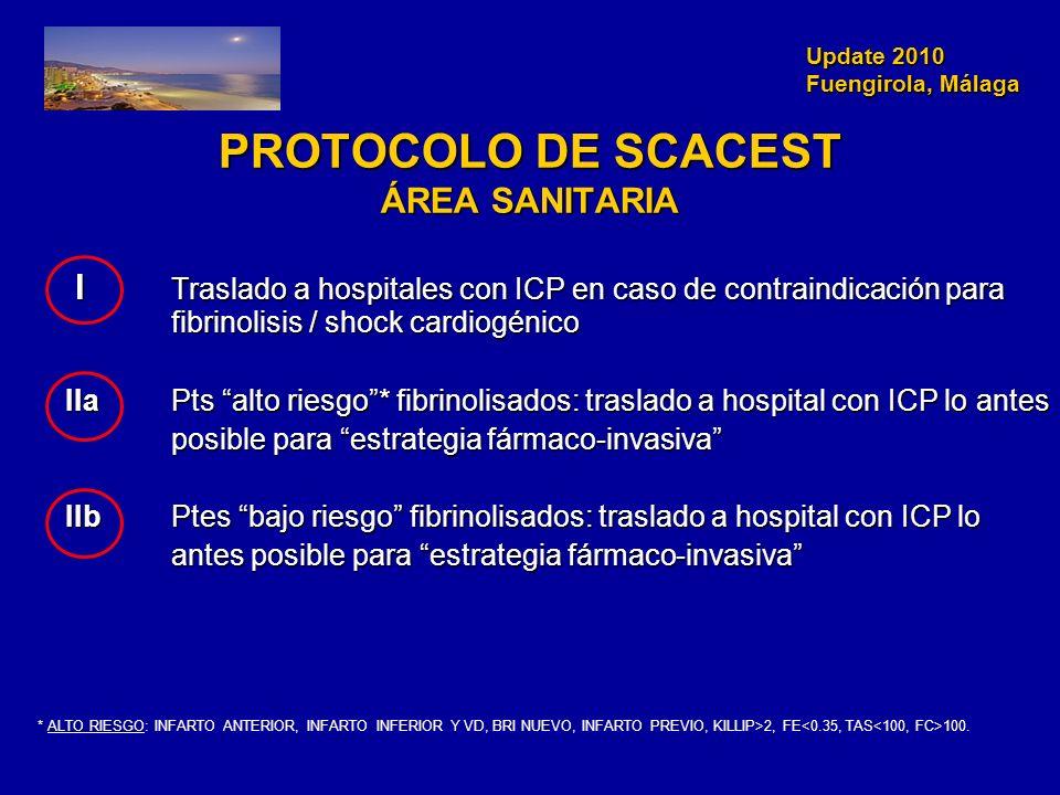 Update 2010 Fuengirola, Málaga Update 2010 Fuengirola, Málaga PROTOCOLO DE SCACEST ÁREA SANITARIA I Traslado a hospitales con ICP en caso de contraind