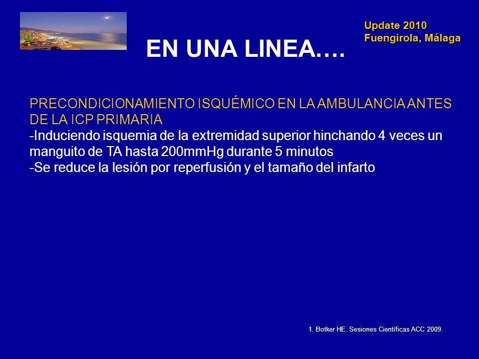 Update 2010 Fuengirola, Málaga Update 2010 Fuengirola, Málaga EN UNA LINEA…. PRECONDICIONAMIENTO ISQUÉMICO EN LA AMBULANCIA ANTES DE LA ICP PRIMARIA -