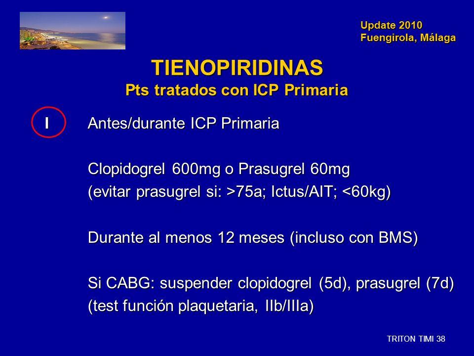 Update 2010 Fuengirola, Málaga Update 2010 Fuengirola, Málaga TIENOPIRIDINAS Pts tratados con ICP Primaria IAntes/durante ICP Primaria IAntes/durante