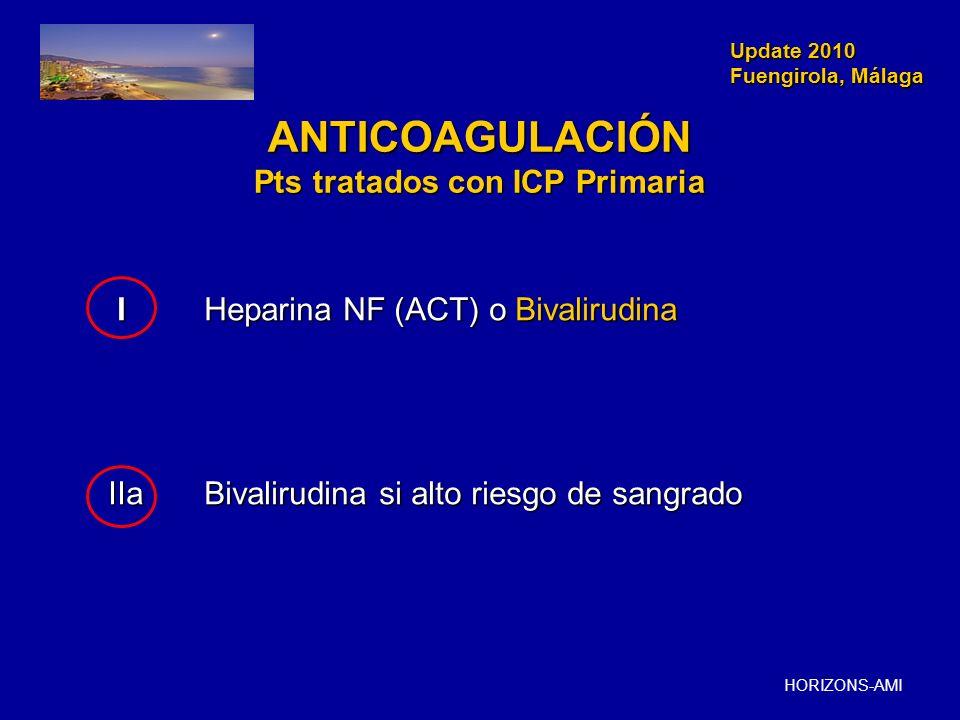 Update 2010 Fuengirola, Málaga Update 2010 Fuengirola, Málaga ANTICOAGULACIÓN Pts tratados con ICP Primaria IHeparina NF (ACT) o Bivalirudina IHeparin