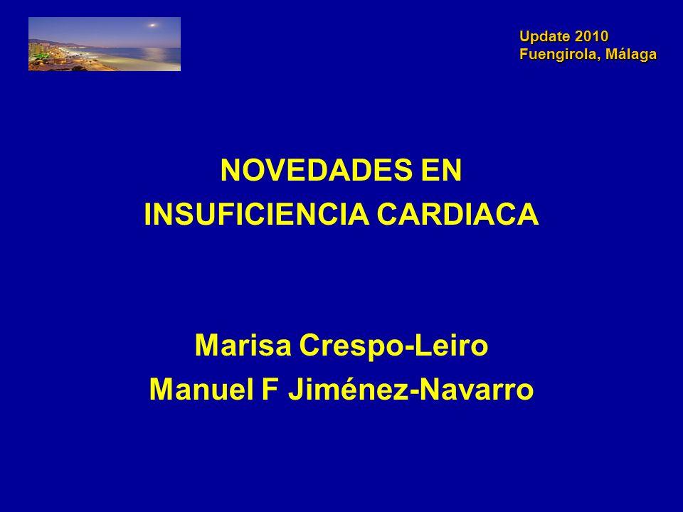 Update 2010 Fuengirola, Málaga Update 2010 Fuengirola, Málaga Insuficiencia Cardiaca Insuficiencia Cardiaca 1.El estudio HEALL demuestra que dosis altas de Losartan (150 mg) vs dosis bajas (50mg) mejora discretamente el pronóstico en pacientes con IC con disfunción ventricular (EF<40%) e intolerancia a IECAs (disminución de mortalidad y reingresos por IC (consulta en Urgencias por una noche).