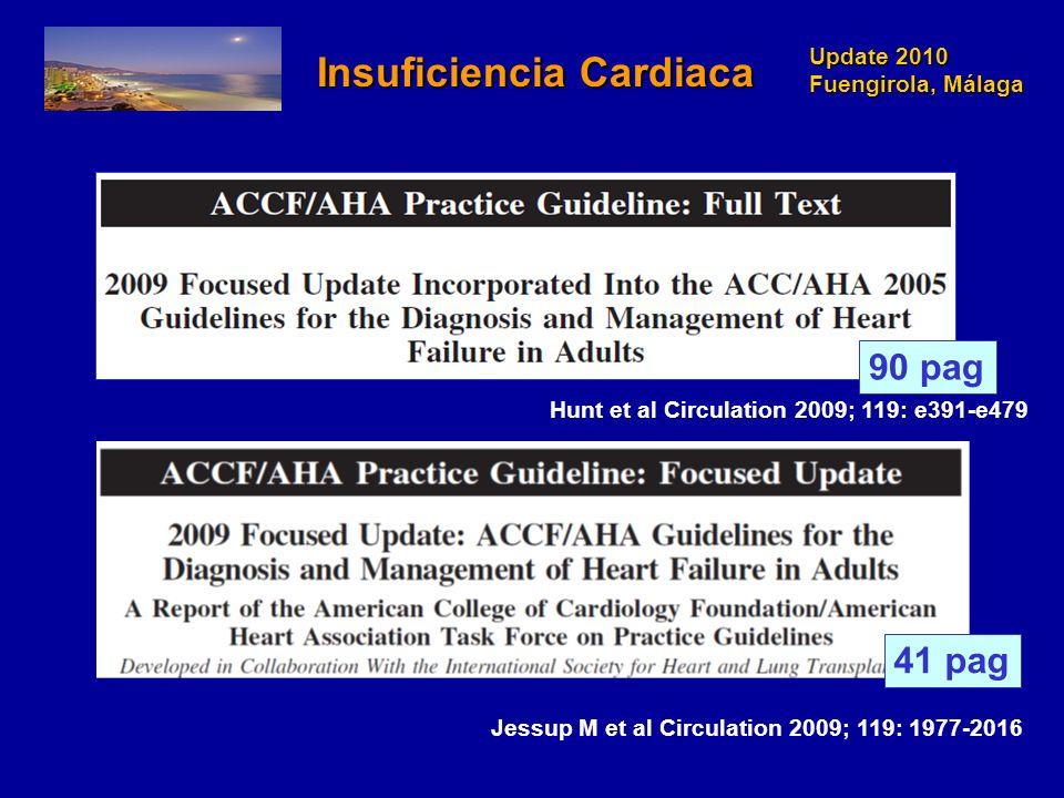 Update 2010 Fuengirola, Málaga Jessup M et al Circulation 2009; 119: 1977-2016 Hunt et al Circulation 2009; 119: e391-e479 90 pag Insuficiencia Cardia