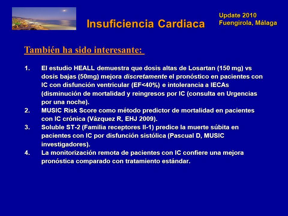 Update 2010 Fuengirola, Málaga Update 2010 Fuengirola, Málaga Insuficiencia Cardiaca Insuficiencia Cardiaca 1.El estudio HEALL demuestra que dosis alt