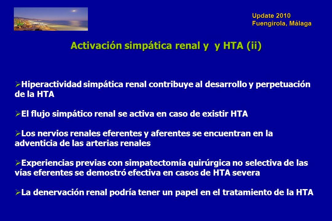 Update 2010 Fuengirola, Málaga Hiperactividad simpática renal contribuye al desarrollo y perpetuación de la HTA El flujo simpático renal se activa en caso de existir HTA Los nervios renales eferentes y aferentes se encuentran en la adventicia de las arterias renales Experiencias previas con simpatectomía quirúrgica no selectiva de las vías eferentes se demostró efectiva en casos de HTA severa La denervación renal podría tener un papel en el tratamiento de la HTA Activación simpática renal y y HTA (ii)
