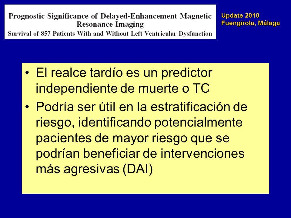 Update 2010 Fuengirola, Málaga El realce tardío es un predictor independiente de muerte o TC Podría ser útil en la estratificación de riesgo, identifi