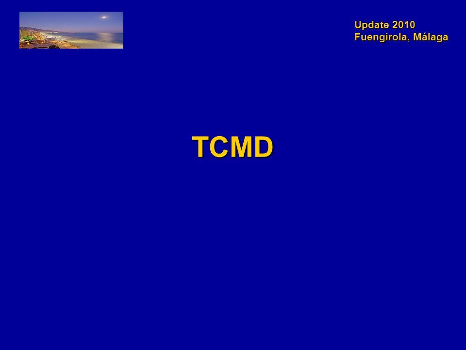 Update 2010 Fuengirola, Málaga N=368 p, 53±12 años, 61% varones Dolor torácico agudo con Tn y ECG normalN=368 p, 53±12 años, 61% varones Dolor torácico agudo con Tn y ECG normal Ausencia de enfermedad coronaria conocidaAusencia de enfermedad coronaria conocida Coronariografía TCMD 64 cCoronariografía TCMD 64 c Presencia de placa, estenosis > 50%Presencia de placa, estenosis > 50% Objetivo:Objetivo: –SCA durante el periodo de hospitalización –MACE seguimiento 6 meses Los médicos responsables desconocían el resultado del TCMD Hoffmann U, J Am Coll Cardiol 2009;53:1642-50