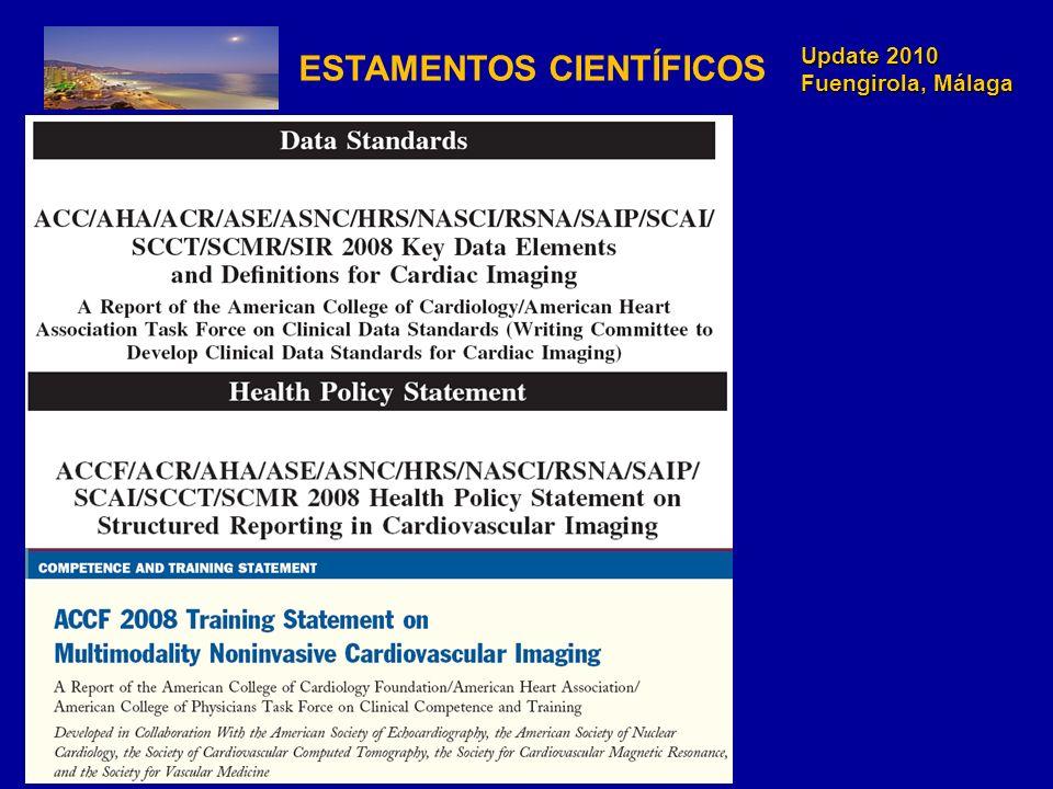 Update 2010 Fuengirola, Málaga N=4862 pacientes de 15 centros en un año Intervenciones:- amplitud del estudio - FC -Modulación de corriente de tubo controlado con ECG - corriente de tubo* Raff G et al, JAMA 2009;301(22):2340-2348 radiación de 21 a 10 mSv (53%) No peor calidad imagen