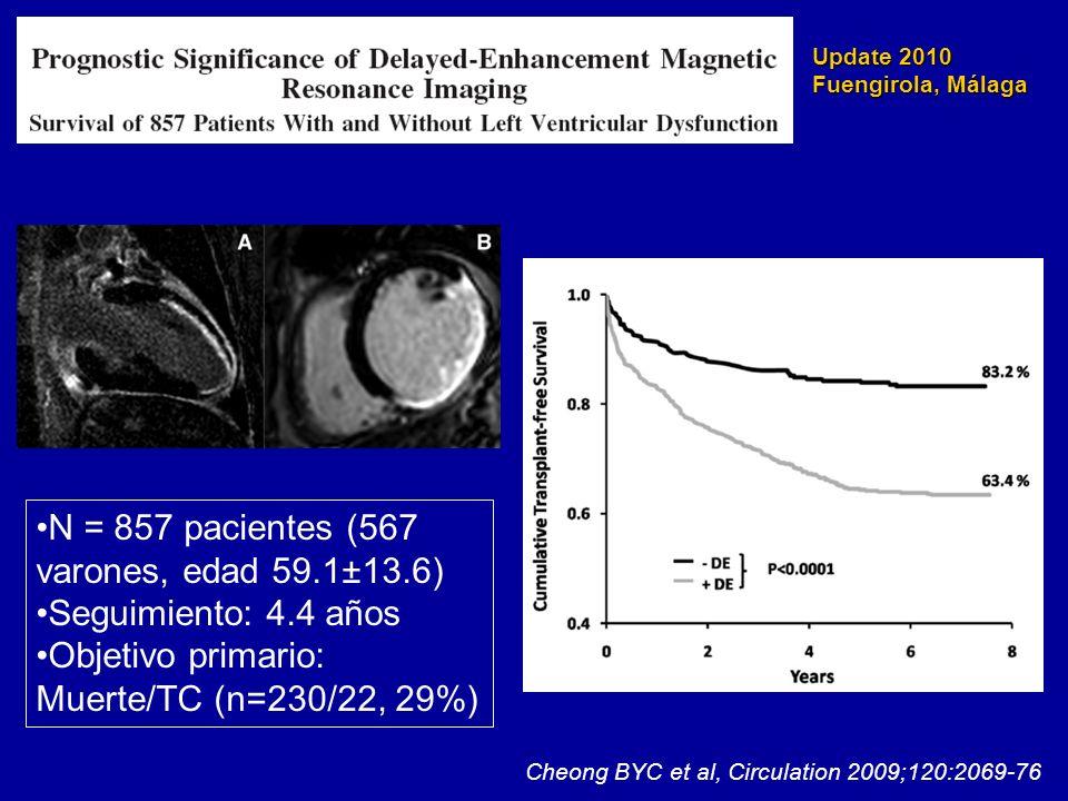 Update 2010 Fuengirola, Málaga Cheong BYC et al, Circulation 2009;120:2069-76 N = 857 pacientes (567 varones, edad 59.1±13.6) Seguimiento: 4.4 años Ob