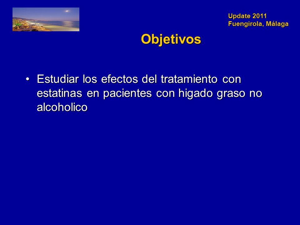 Update 2011 Fuengirola, Málaga Objetivos Estudiar los efectos del tratamiento con estatinas en pacientes con higado graso no alcoholicoEstudiar los efectos del tratamiento con estatinas en pacientes con higado graso no alcoholico