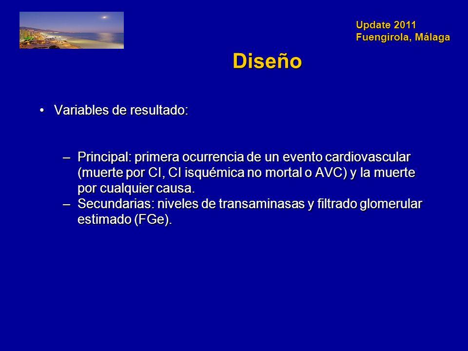 Update 2011 Fuengirola, Málaga Diseño Variables de resultado:Variables de resultado: –Principal: primera ocurrencia de un evento cardiovascular (muerte por CI, CI isquémica no mortal o AVC) y la muerte por cualquier causa.