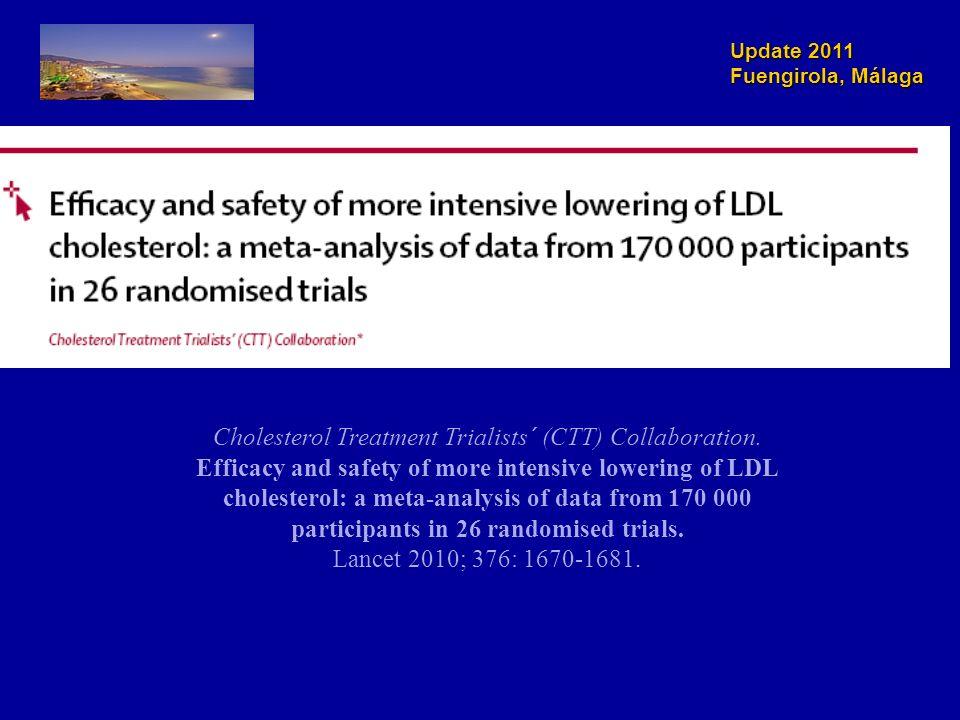 Update 2011 Fuengirola, Málaga Eficacia del tratamiento intensivo para reducir el colesterol LDL en la prevención de las enfermedades cardiovasculares Cholesterol Treatment Trialists´ (CTT) Collaboration.