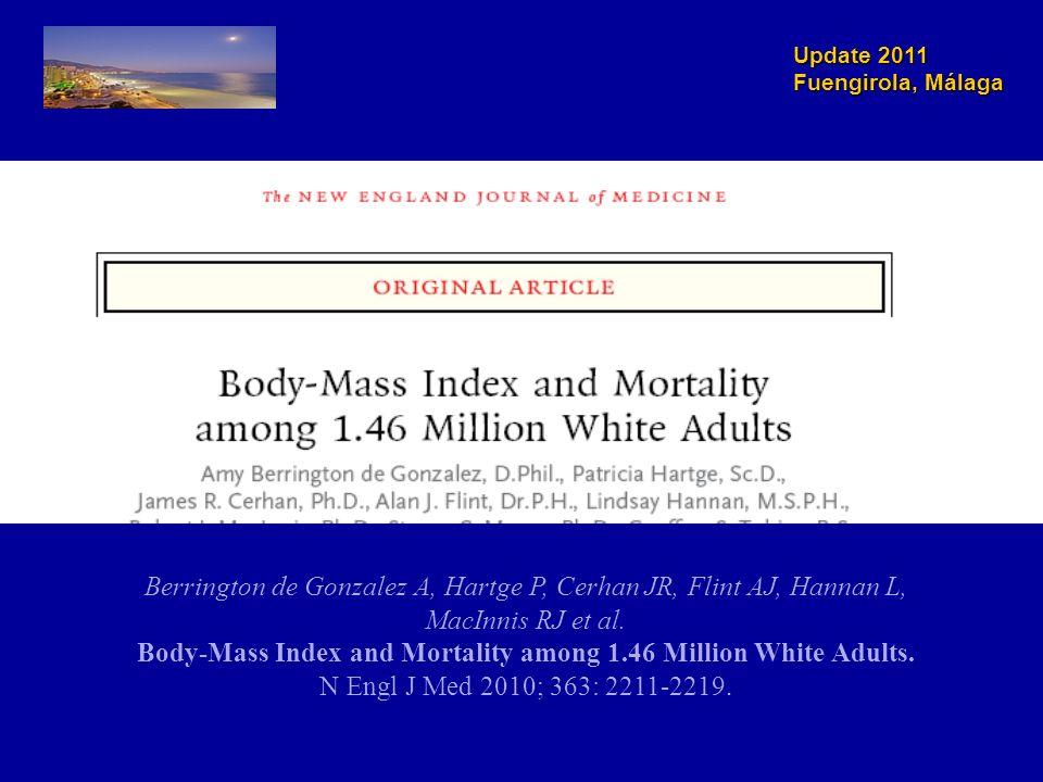 Update 2011 Fuengirola, Málaga Relación entre el IMC y la mortalidad total a largo plazo Berrington de Gonzalez A, Hartge P, Cerhan JR, Flint AJ, Hannan L, MacInnis RJ et al.