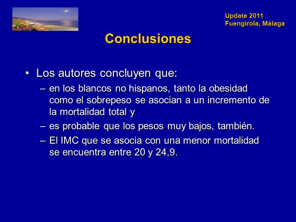 Update 2011 Fuengirola, Málaga Conclusiones Los autores concluyen que:Los autores concluyen que: –en los blancos no hispanos, tanto la obesidad como el sobrepeso se asocian a un incremento de la mortalidad total y –es probable que los pesos muy bajos, también.