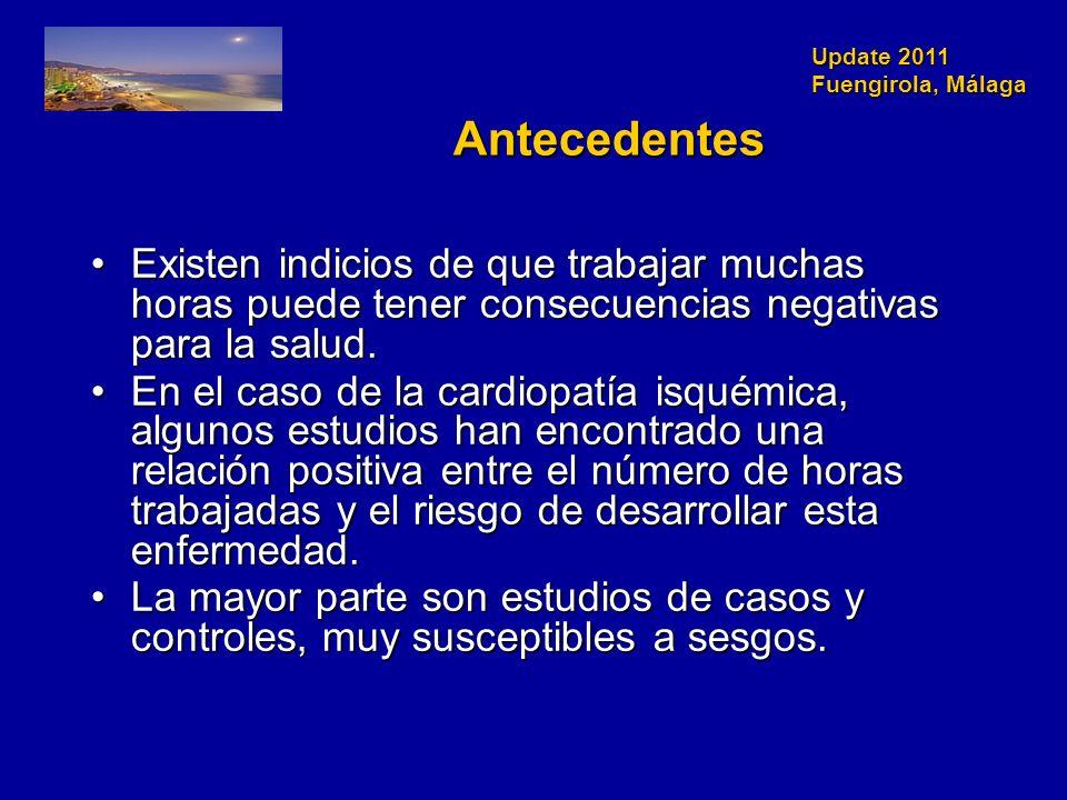 Update 2011 Fuengirola, Málaga Antecedentes Existen indicios de que trabajar muchas horas puede tener consecuencias negativas para la salud.Existen indicios de que trabajar muchas horas puede tener consecuencias negativas para la salud.