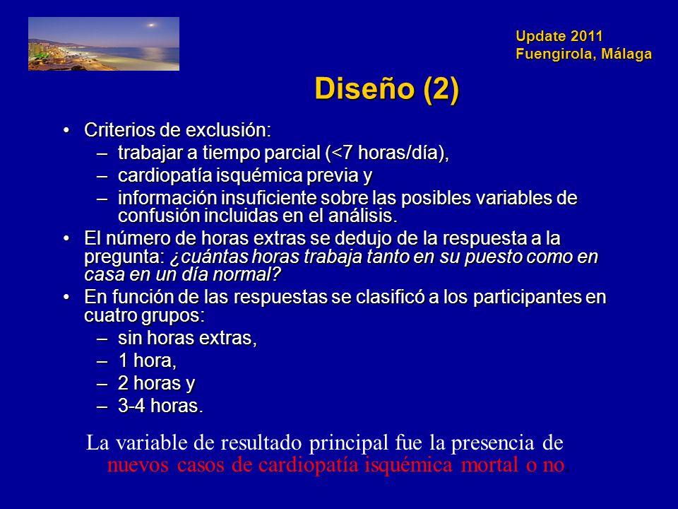 Update 2011 Fuengirola, Málaga Diseño (2) Criterios de exclusión:Criterios de exclusión: –trabajar a tiempo parcial (<7 horas/día), –cardiopatía isquémica previa y –información insuficiente sobre las posibles variables de confusión incluidas en el análisis.