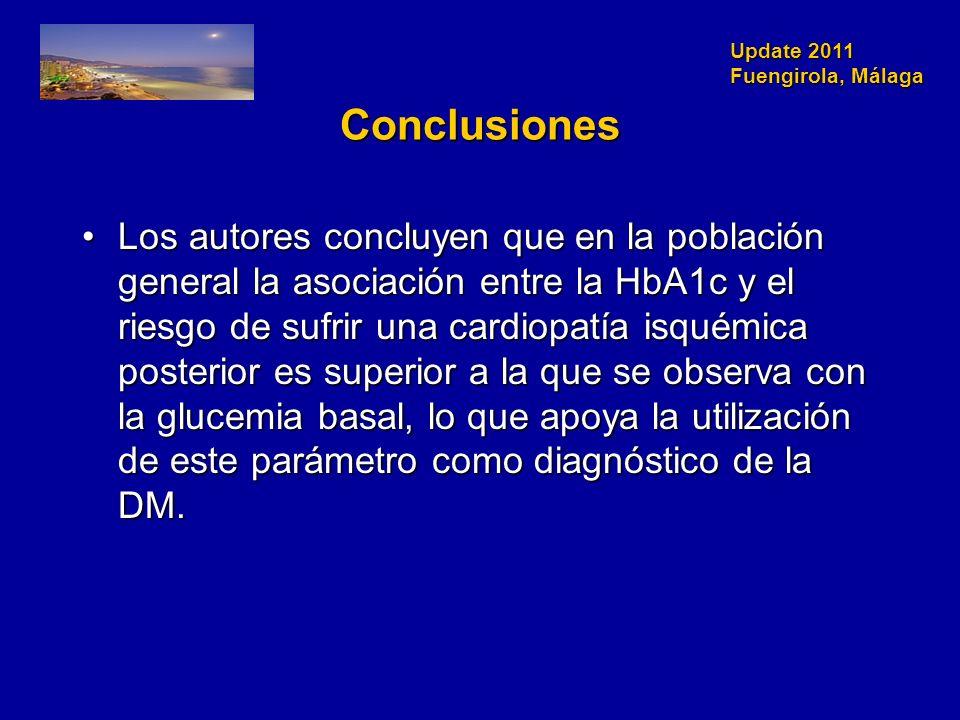 Update 2011 Fuengirola, Málaga Conclusiones Los autores concluyen que en la población general la asociación entre la HbA1c y el riesgo de sufrir una cardiopatía isquémica posterior es superior a la que se observa con la glucemia basal, lo que apoya la utilización de este parámetro como diagnóstico de la DM.Los autores concluyen que en la población general la asociación entre la HbA1c y el riesgo de sufrir una cardiopatía isquémica posterior es superior a la que se observa con la glucemia basal, lo que apoya la utilización de este parámetro como diagnóstico de la DM.