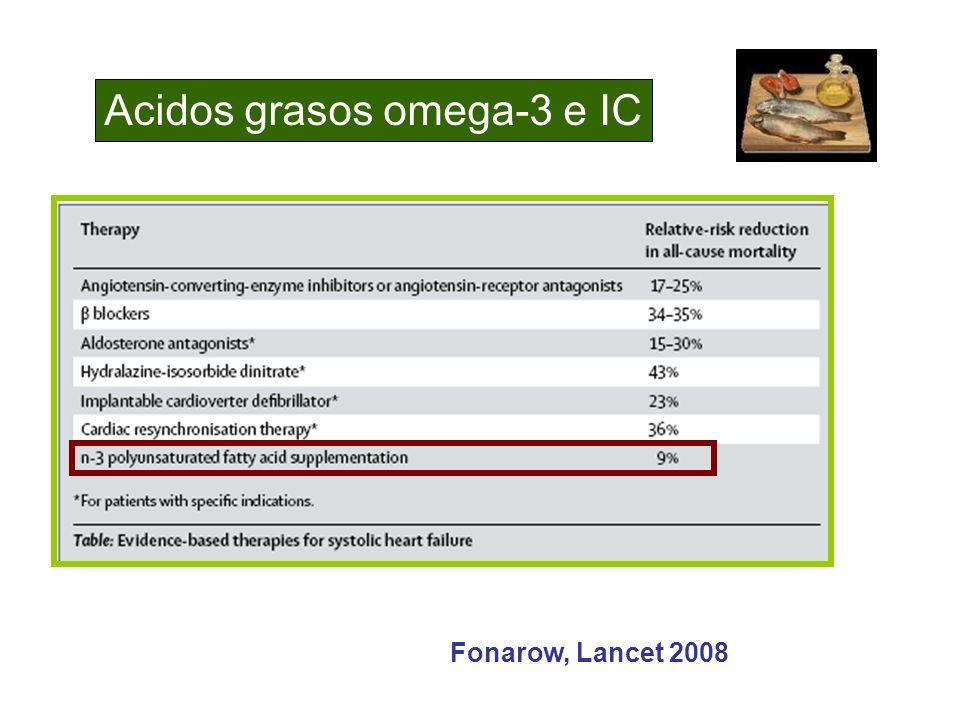 Acidos grasos omega-3 e IC Fonarow, Lancet 2008