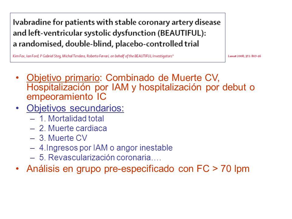 Objetivo primario: Combinado de Muerte CV, Hospitalización por IAM y hospitalización por debut o empeoramiento IC Objetivos secundarios: –1. Mortalida