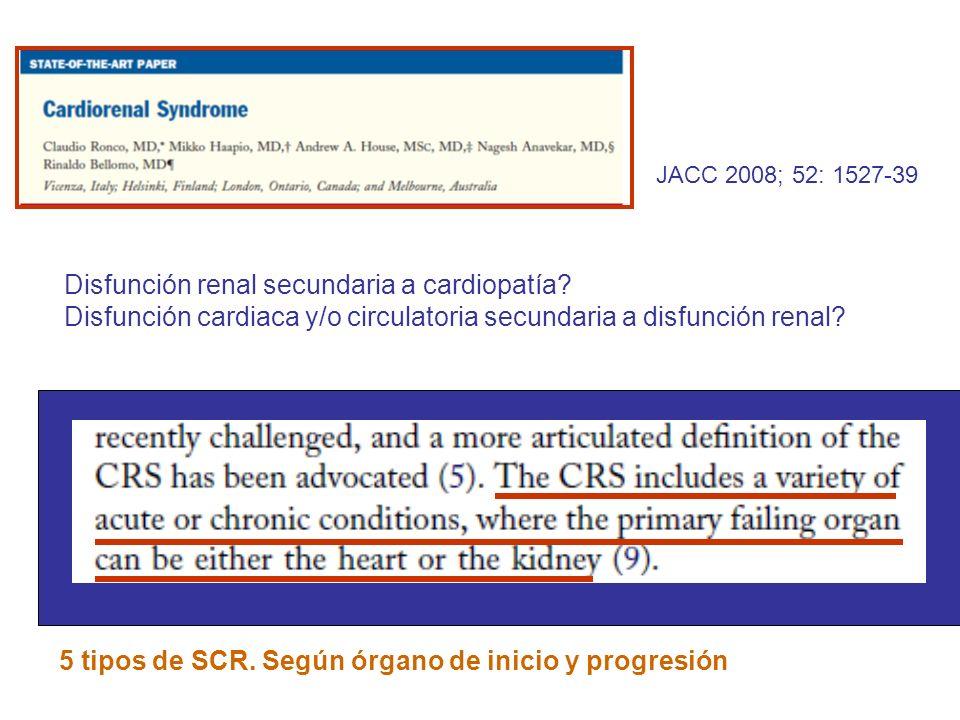 JACC 2008; 52: 1527-39 Disfunción renal secundaria a cardiopatía? Disfunción cardiaca y/o circulatoria secundaria a disfunción renal? 5 tipos de SCR.