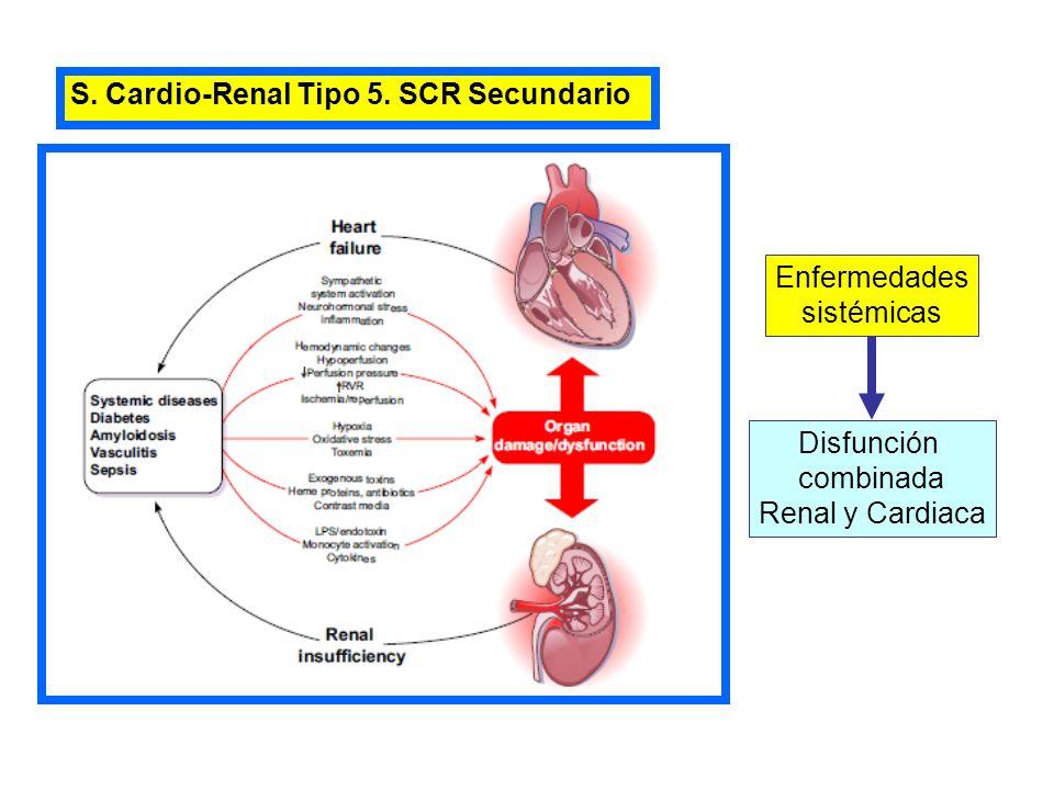 S. Cardio-Renal Tipo 5. SCR Secundario Disfunción combinada Renal y Cardiaca Enfermedades sistémicas