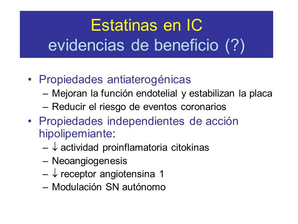 Estatinas en IC evidencias de beneficio (?) Propiedades antiaterogénicas –Mejoran la función endotelial y estabilizan la placa –Reducir el riesgo de e